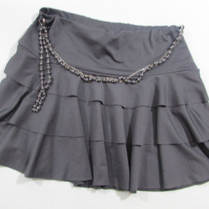 Gray Layered Mini Skirt with Chain
